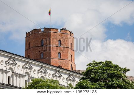 Gediminas Tower On The Hill In The Old Town Center In Vilnius