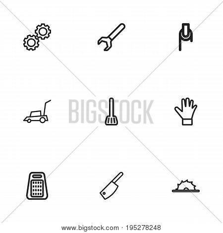 Set Of 9 Editable Equipment Icons. Includes Symbols Such As Circle Blade, Grater, Glove And More. Can Be Used For Web, Mobile, UI And Infographic Design.