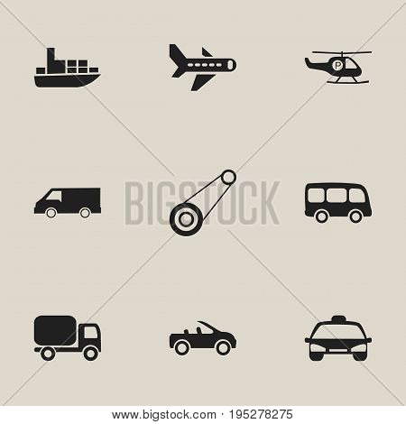 Set Of 9 Editable Shipment Icons. Includes Symbols Such As Ship, Airplane, Taxi And More. Can Be Used For Web, Mobile, UI And Infographic Design.