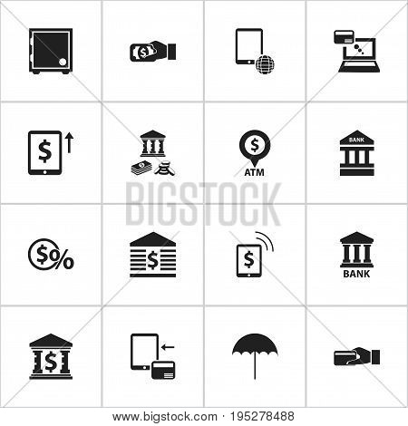 Set Of 16 Editable Finance Icons. Includes Symbols Such As Cash Growth, Network, Remuneration And More. Can Be Used For Web, Mobile, UI And Infographic Design.