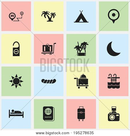 Set Of 16 Editable Trip Icons. Includes Symbols Such As Tree, Bed, Snapshot And More. Can Be Used For Web, Mobile, UI And Infographic Design.