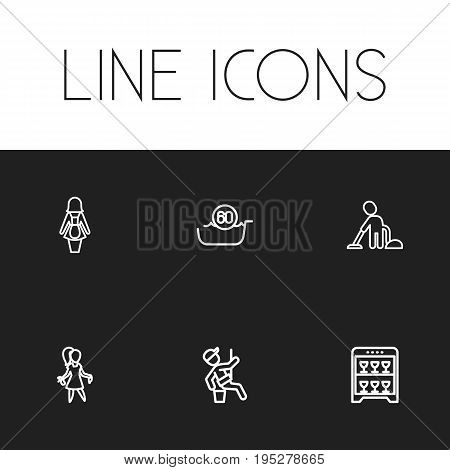 Set Of 6 Editable Hygiene Icons. Includes Symbols Such As Beauty, Vacuuming Man, Machine And More. Can Be Used For Web, Mobile, UI And Infographic Design.
