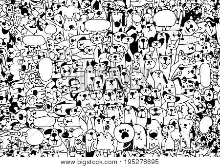 Animals. Cats and Dogs Vector pattern. Hand Drawn Doodles Pets. Cute Cats and Dogs seamless background doodle.vector illustration