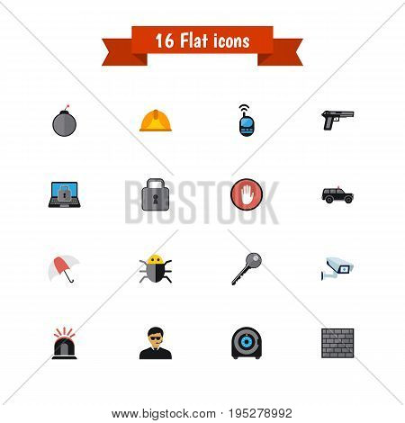 Set Of 16 Editable Procuring Icons. Includes Symbols Such As Open, Parasol, Alarm And More. Can Be Used For Web, Mobile, UI And Infographic Design.