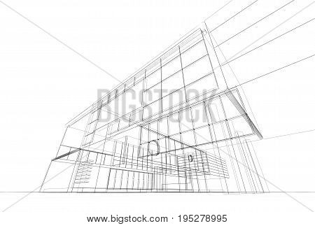 Architecture blueprint on white background. Building design and 3d model my own