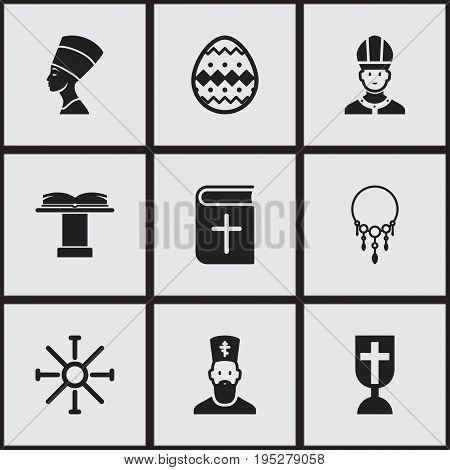 Set Of 9 Editable Faith Icons. Includes Symbols Such As Christian Book, Orator Tribune, Catholic Crucifix And More. Can Be Used For Web, Mobile, UI And Infographic Design.