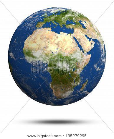 Africa and Europe. Earth globe model, maps courtesy of NASA