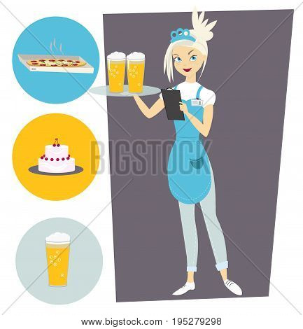 Waitress with a tray and a beer. Set with food objects