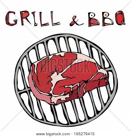 Rib Eye Steak on the Grill for Barbecue. Lettering Grill and BBQ. Isolated On a White Background. Realistic Doodle Cartoon Style Hand Drawn Sketch Vector Illustration.