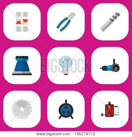 Set Of 9 Editable Instruments Icons. Includes Symbols Such As Auger, Receptacle, Nipper And More. Can Be Used For Web, Mobile, UI And Infographic Design.