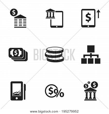 Set Of 9 Editable Investment Icons. Includes Symbols Such As Hierarchy, Townhouse, Cash Growth And More. Can Be Used For Web, Mobile, UI And Infographic Design.