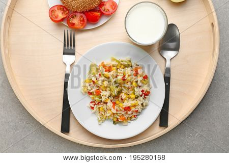 Serving tray with tasty food on table. Concept of school lunch