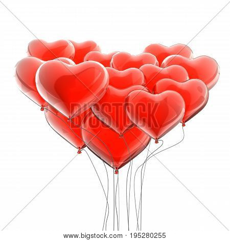 Valentine's balloons structure. 3d isolated on white