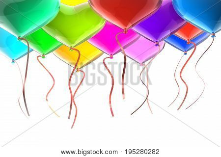 Balloons with ribbons. 3d isolated on white