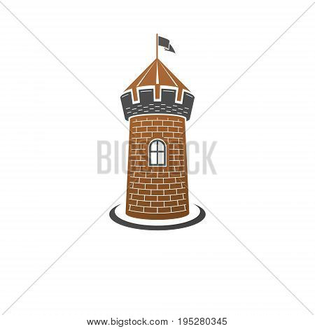 Medieval tower decorative isolated vector illustration. Ancient Fort logo in old style isolated on white background.