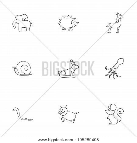 Set Of 9 Editable Animal Icons. Includes Symbols Such As Rabbit, Swine, Serpent And More. Can Be Used For Web, Mobile, UI And Infographic Design.
