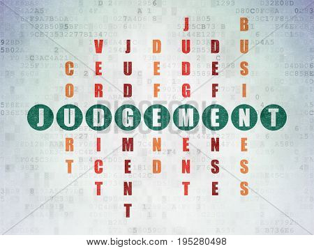Law concept: Painted green word Judgement in solving Crossword Puzzle on Digital Data Paper background