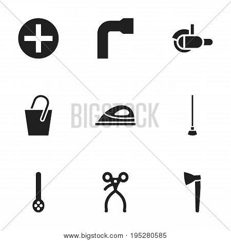 Set Of 9 Editable Tools Icons. Includes Symbols Such As Handle , Hatchet, Wheel Wrench. Can Be Used For Web, Mobile, UI And Infographic Design.