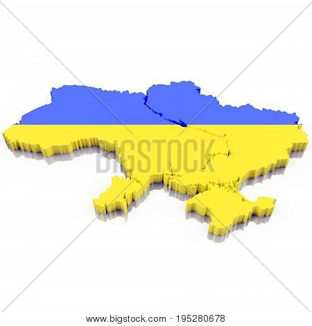 3D Map of Ukraine with flag colors. 3d illustration isolated on white with shadow.