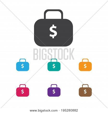 Vector Illustration Of Statistic Symbol On Case Dollar Icon. Premium Quality Isolated Money Bag Element In Trendy Flat Style.