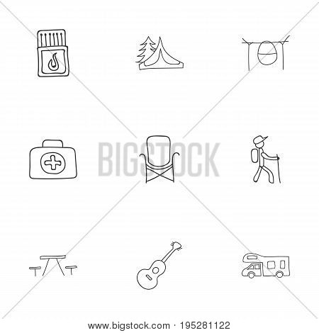 Set Of 9 Editable Travel Icons. Includes Symbols Such As Campfire Cooking, Hiker, Flammable Stick And More. Can Be Used For Web, Mobile, UI And Infographic Design.