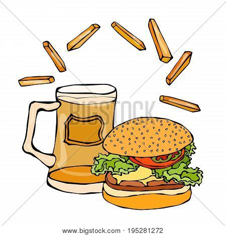 Big Hamburger or Cheeseburger, Beer Mug or Pint and Fried Potato. Burger Logo. Realistic Doodle Cartoon Style Hand Drawn Sketch Vector Illustration.Isolated On a White Background.