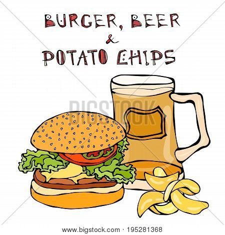 Big Hamburger or Cheeseburger, Beer Mug or Pint and Potato Chips.. Burger Logo. Realistic Doodle Cartoon Style Hand Drawn Sketch Vector Illustration.Isolated On a White Background.