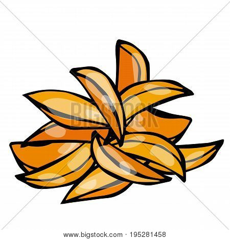 Potato Wedges Set. Fast Food. Realistic Doodle Cartoon Style Hand Drawn Sketch Vector Illustration.Isolated On a White Background.