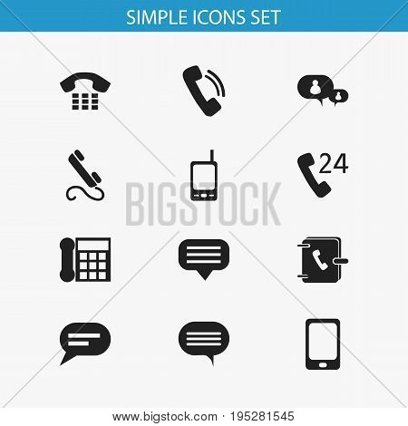 Set Of 12 Editable Gadget Icons. Includes Symbols Such As Radio Talkie, Talking, Call And More. Can Be Used For Web, Mobile, UI And Infographic Design.