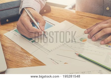 Businessman Take A Note On Documents In Office, Vintage Tone