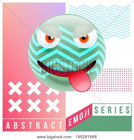 Abstract Cute Angry Emoji With Tongue