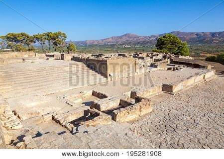 Ancient ruins of Minoan Phaistos Palace, a Bronze Age archeological site, Island of Crete, Greece, Mediterranean