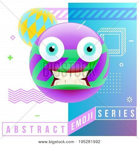 Abstract Cute Shocked Emoji With Big Eyes