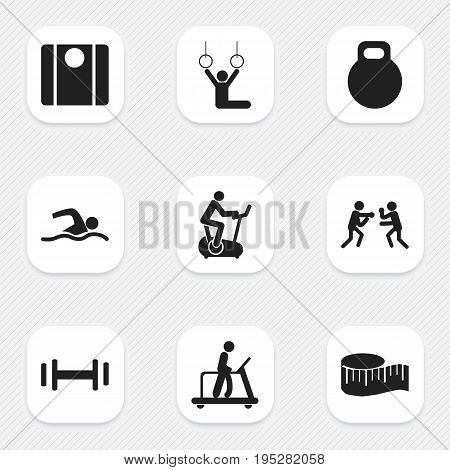 Set Of 9 Editable Active Icons. Includes Symbols Such As Fight, Acrobat, Executing Running And More. Can Be Used For Web, Mobile, UI And Infographic Design.