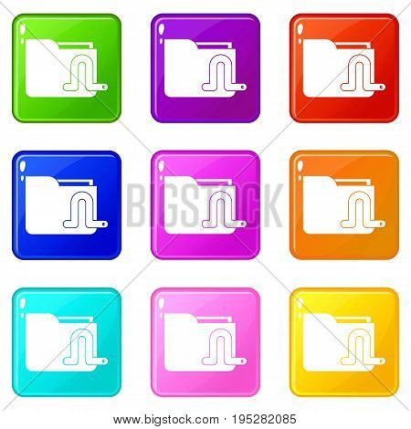 Computer worm icons of 9 color set isolated vector illustration