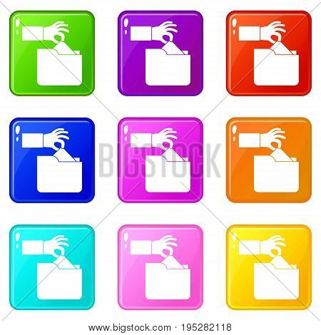 Robbery secret data in folder icons of 9 color set isolated vector illustration