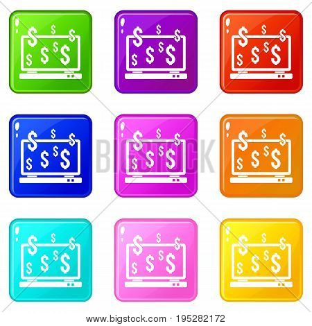 Computer monitor and dollar signs icons of 9 color set isolated vector illustration