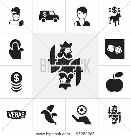 Set Of 12 Editable Excitement Icons. Includes Symbols Such As Trader, Dog Fighting Bet, Jungle Fruit And More. Can Be Used For Web, Mobile, UI And Infographic Design.