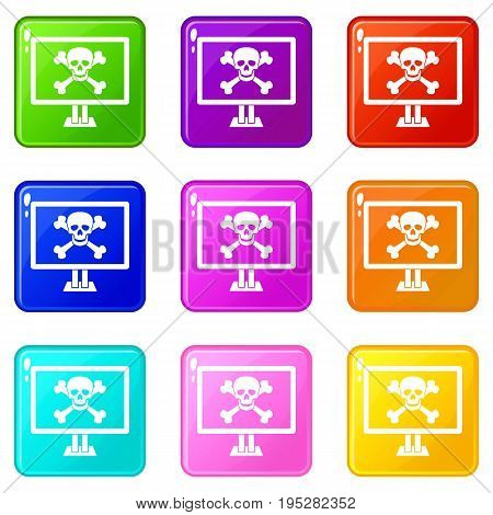 Computer monitor with a skull and bones icons of 9 color set isolated vector illustration