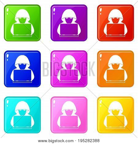 Computer hacker with laptop icons of 9 color set isolated vector illustration