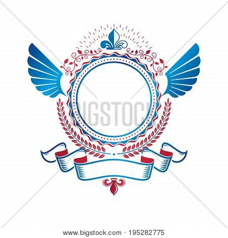 Graphic emblem created using royal symbol Lily Flower laurel wreath and decorative ribbon. Heraldic Coat of Arms decorative logo isolated vector illustration.