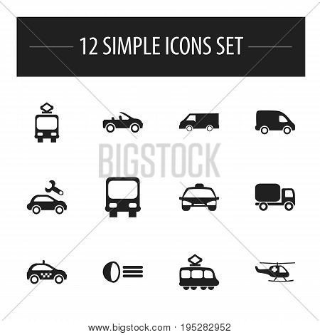 Set Of 12 Editable Shipment Icons. Includes Symbols Such As Van, Taxi, Luminary And More. Can Be Used For Web, Mobile, UI And Infographic Design.