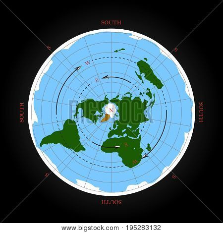 Cardinal direction on flat earth map. Isolated vector illustration