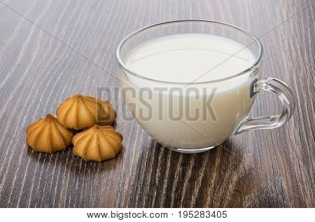 Few Of Shortbread And Transparent Cup With Milk