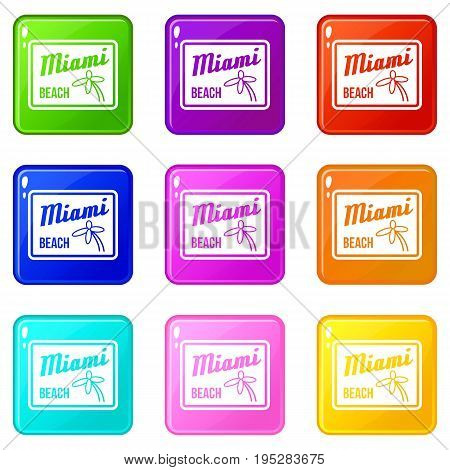 Miami beach icons of 9 color set isolated vector illustration
