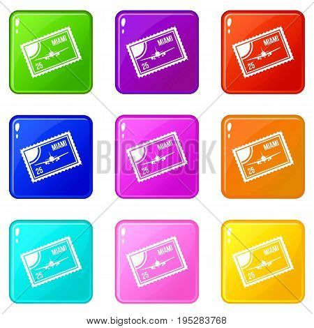 Stamp with plane and text Miami inside icons of 9 color set isolated vector illustration