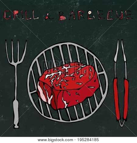 Filet Mignon Steak on the Grill for BBQ, Tongs and Fork. Lettering Grill and Barbecue. Isolated on a Black Chalkboard Background. Realistic Doodle Cartoon Style Hand Drawn Sketch Vector Illustration.