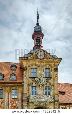 Old town hall (Altes Rathaus)(1386) built in the middle of the Regnitz river accessible by two bridges Germany