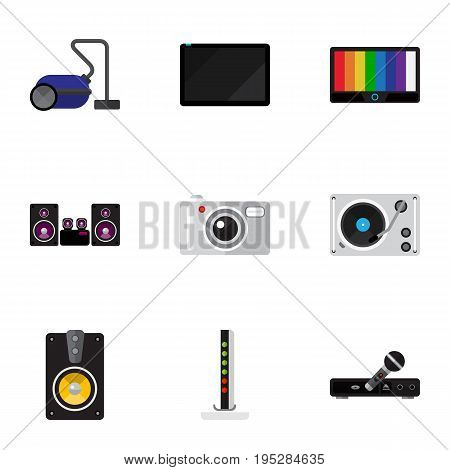 Set Of 9 Editable Home Icons. Includes Symbols Such As Sweeper, Palmtop, Microphone And More. Can Be Used For Web, Mobile, UI And Infographic Design.
