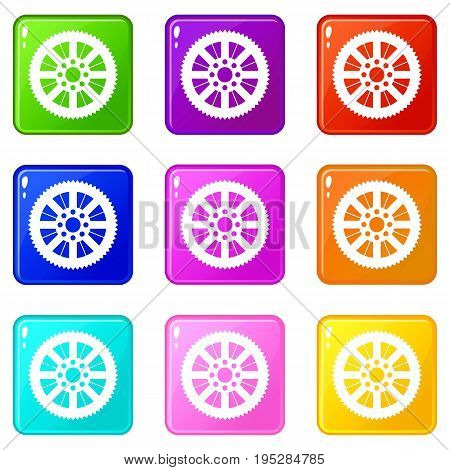 Sprocket from bike icons of 9 color set isolated vector illustration